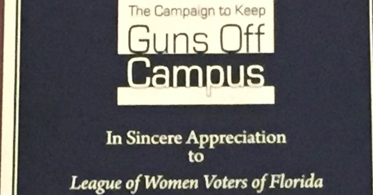 The Campaign To Keep Guns Off Campus Honored The League of Women Voters of Florida, Georgia University Professors, and Covington Attorneys at the Campaign's Spring Benefit the 29th of March.