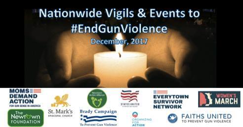 Florida Coalition to Prevent Gun Violence and Others to Host Local Vigil to Mark 5 Years Since Sandy Hook Massacre When: 6:30 p.m. Thursday, Dec. 14   Where: Broadway United Methodist Church, 406 E. Amelia St.
